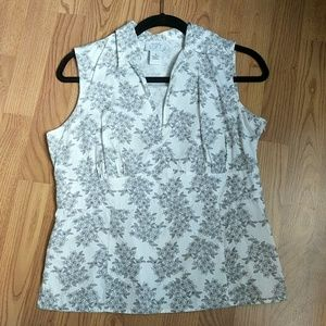 LOFT Ann Taylor Sleeveless Floral Button Blouse